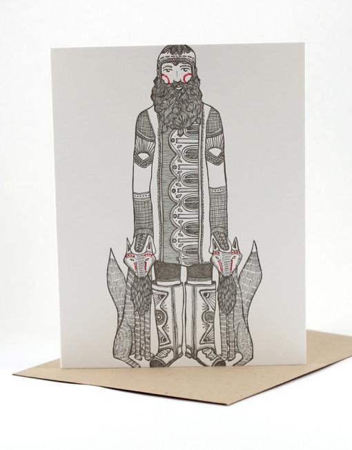 Coyote man, blank card