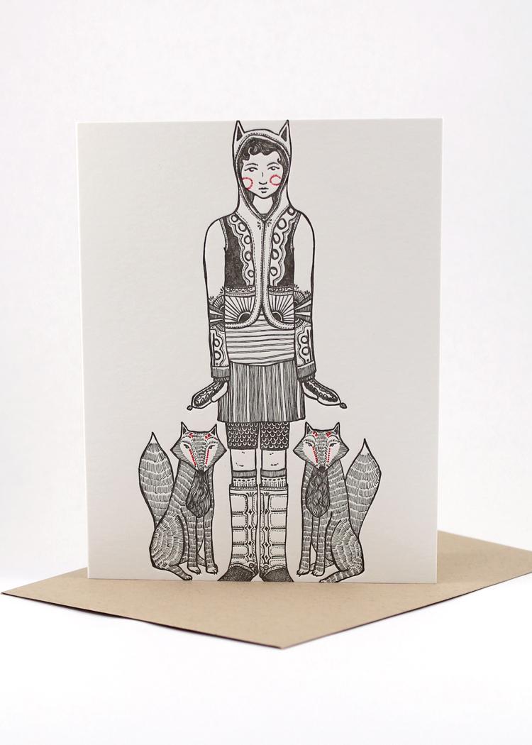 Fox girl, blank card