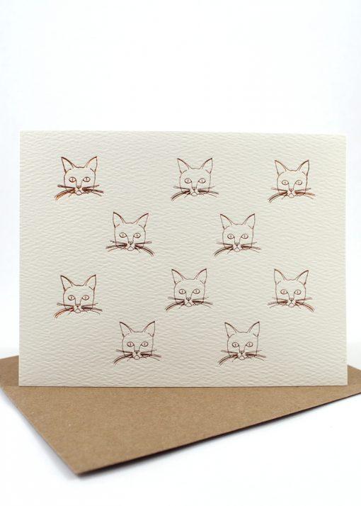 Foil cat motif card, blank