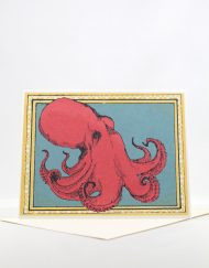 Octopus screen printed blank card