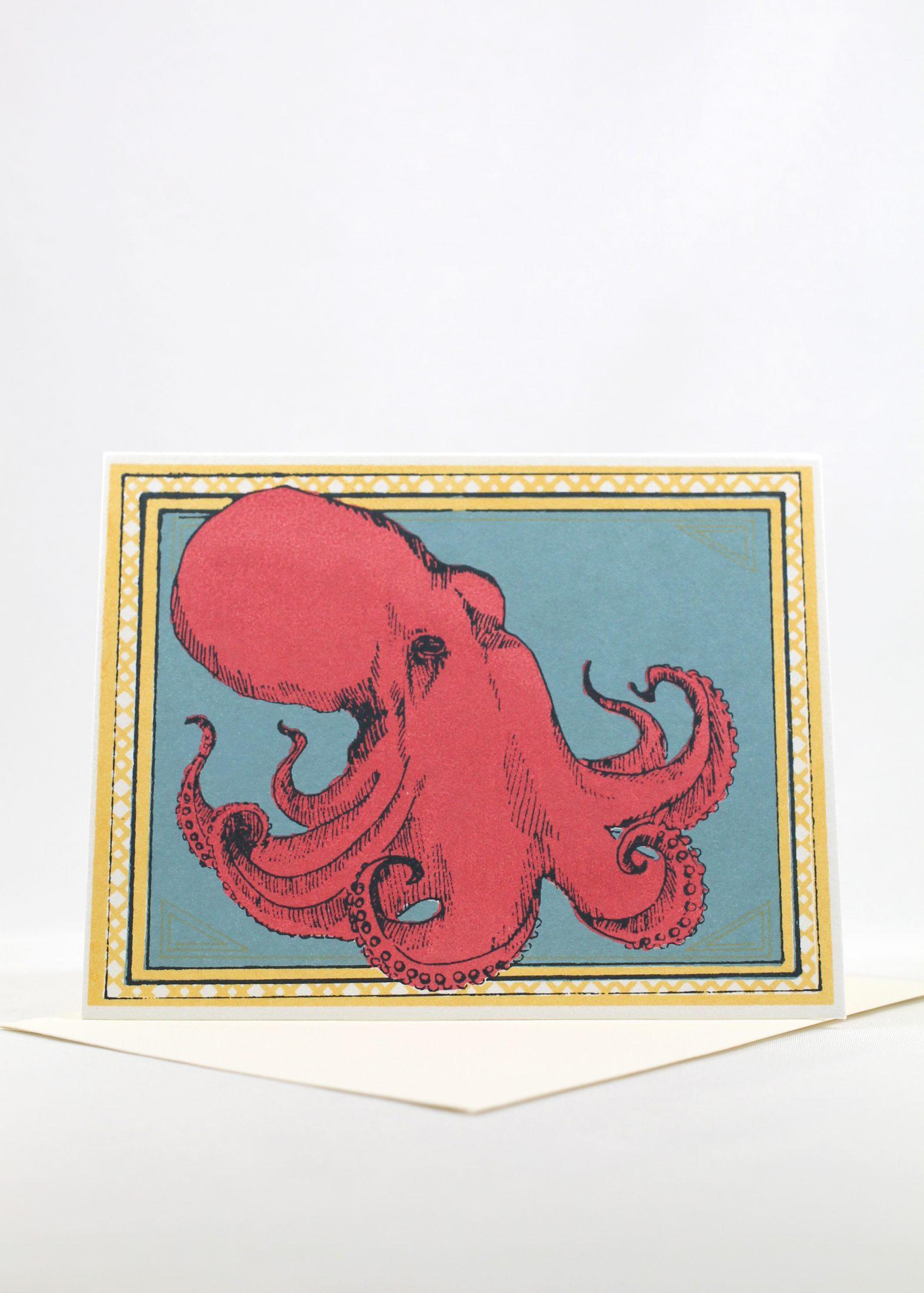 Octopus screen printed blank card