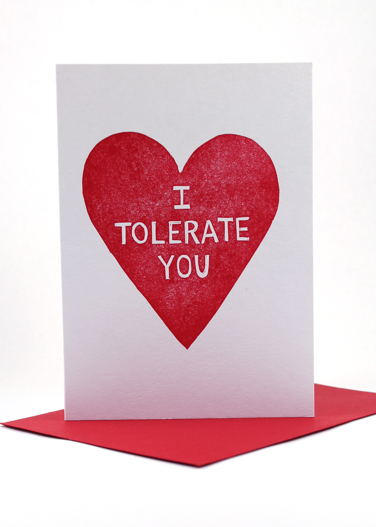 I Tolerate You Valentines Day Card Sent Well – Valentines Card Image