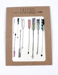 Pack of temporary tattoos, arrow themed