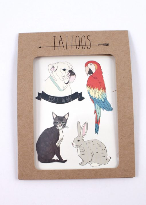 Pack of temporary Tattoos, animal themed