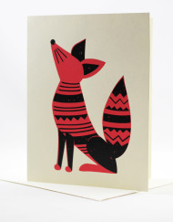 Screenprinted fox card, blank