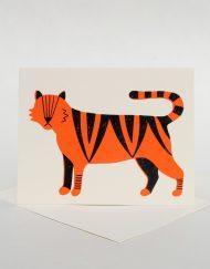 Screenprinted tiger, blank hand written card