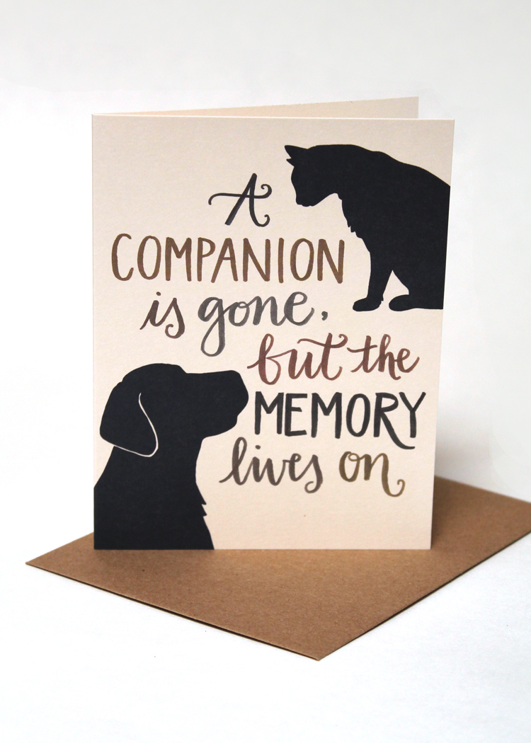 A companion is gone, but the memory lives on pet sympathy card