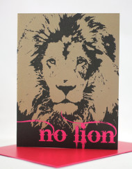 No Lion Valentine's cay card with neon print