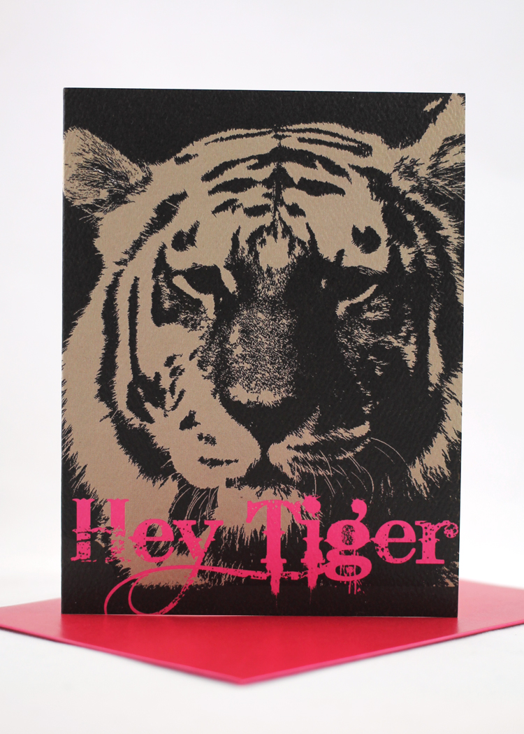 Hey Tiger Valentine's Day card with neon print