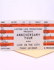 Anniversary Card Concert Ticket