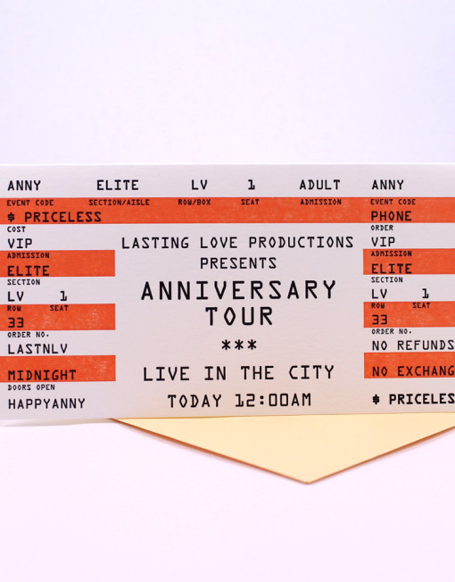 Anniversary Card Concert Ticket