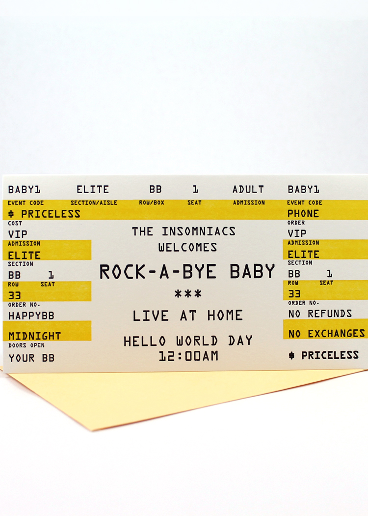 Rock a bye baby card