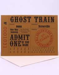 Vintage train ticket style Halloween card