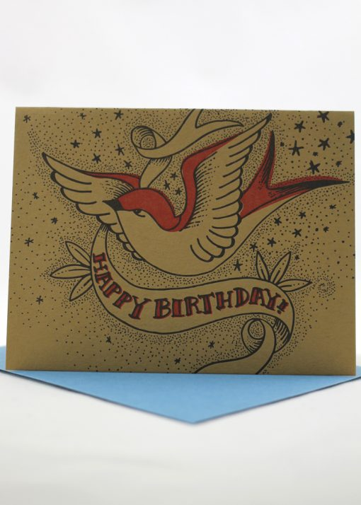 Tattoo style Happy Birthday card with swallow design