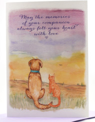 Watercolor dog and cat, pet sympathy card