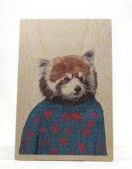 Fox on a wooden postcard