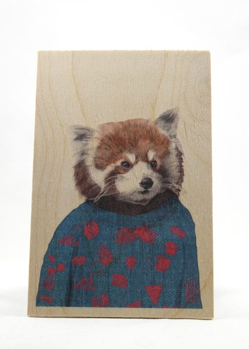Fox on a wooden postcard