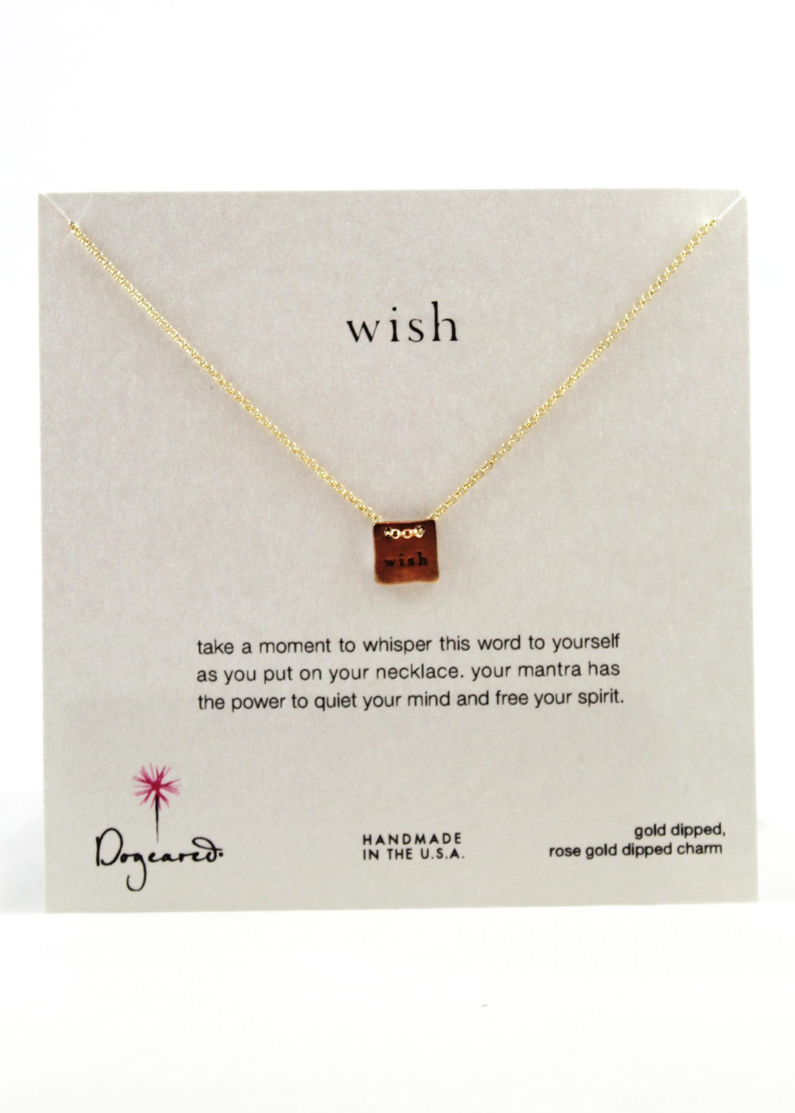 "rose gold ""wish"" necklace"