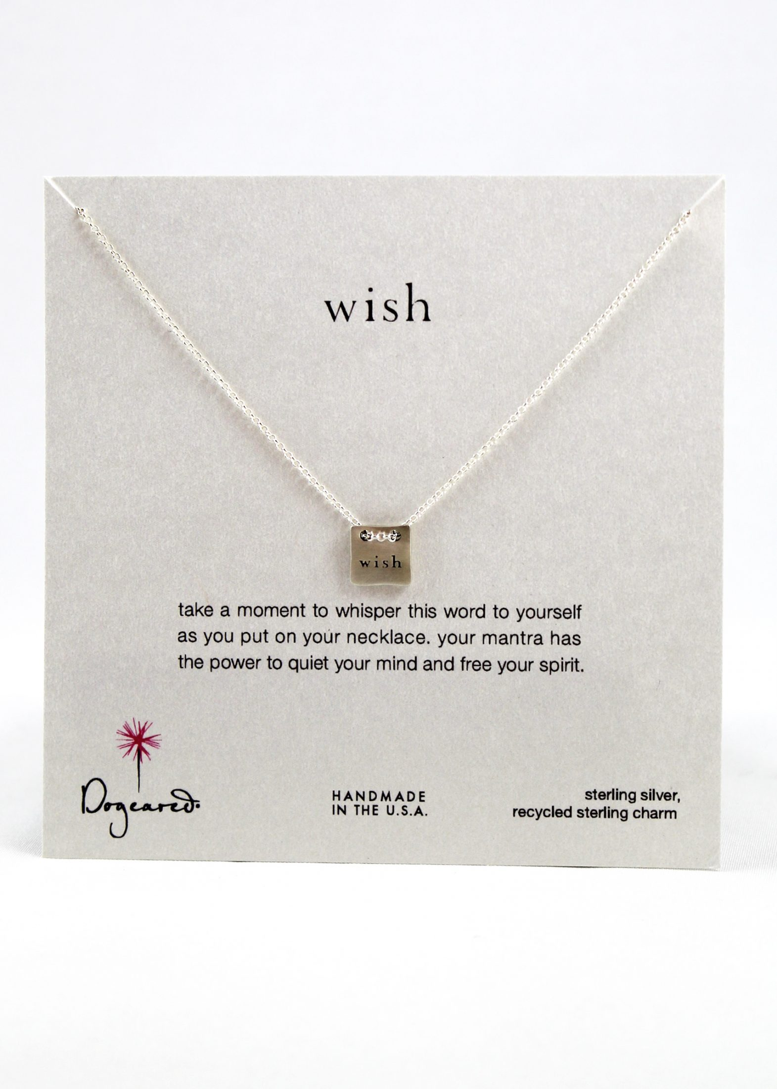 "Sterling silver ""wish"" necklace"