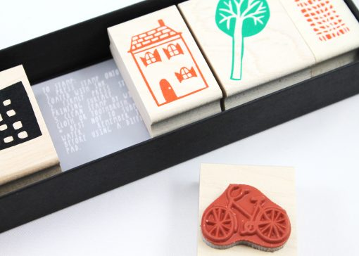 city scene stamp set