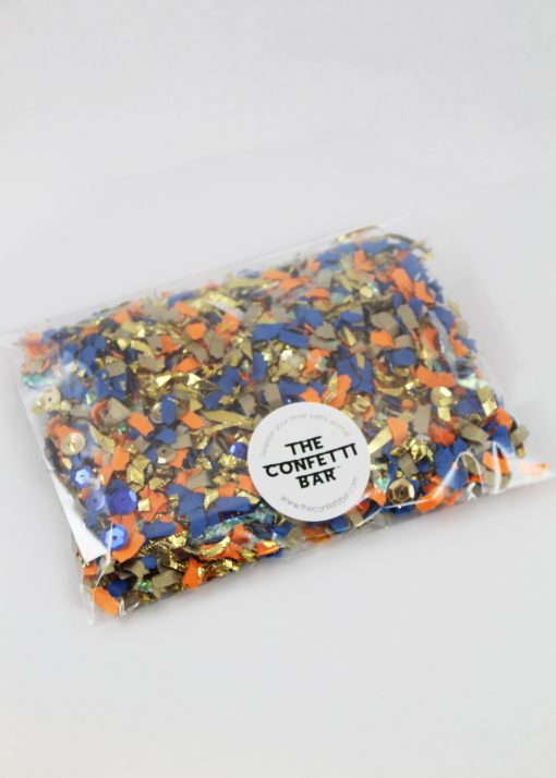 blue orange and gold confetti pack