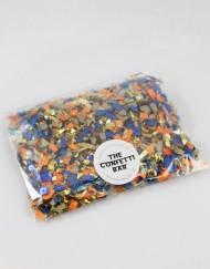 blue orange and gold confetti pack