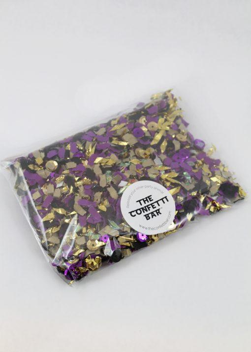 purple and gold confetti pack