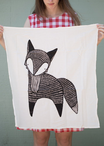 fox print towel