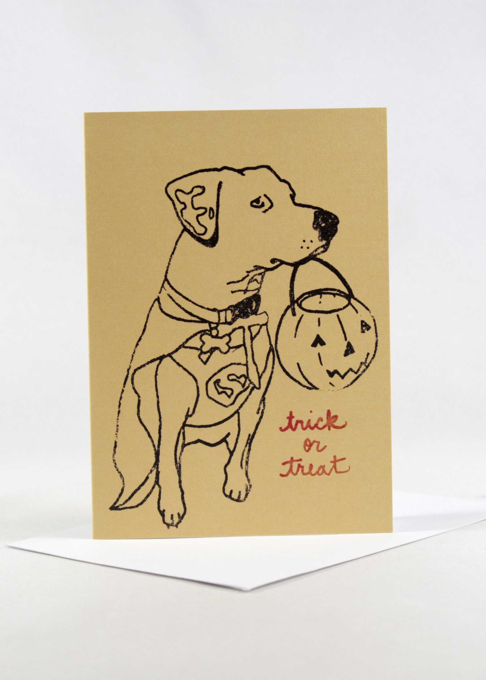 Halloween card with dog and pumpkin