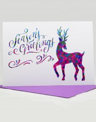 season's greetings reindeer holiday card