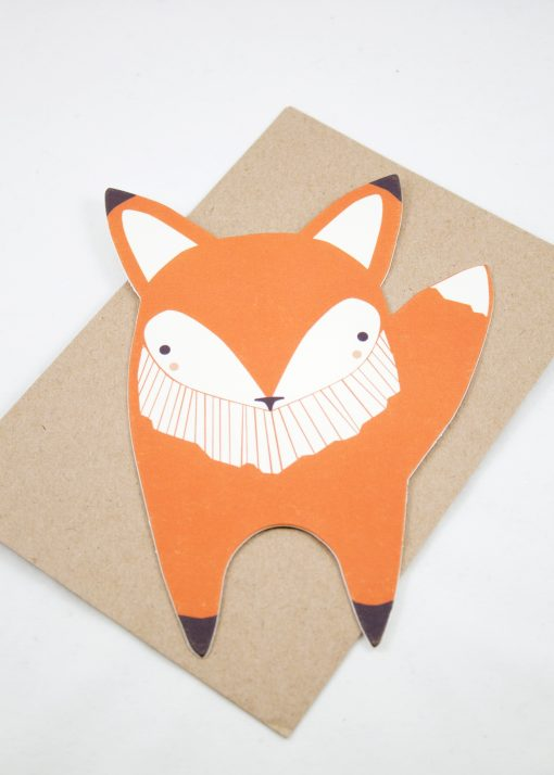 die cut fox card