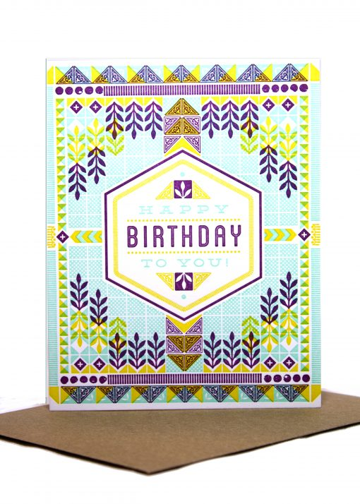 Geometric pattern birthday card