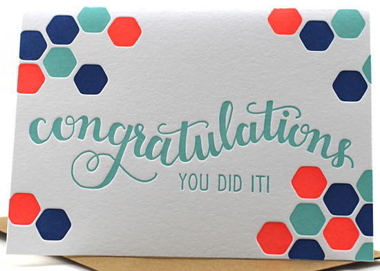 debossing congratulations card