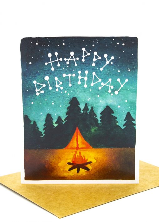Campfire themed birthday card